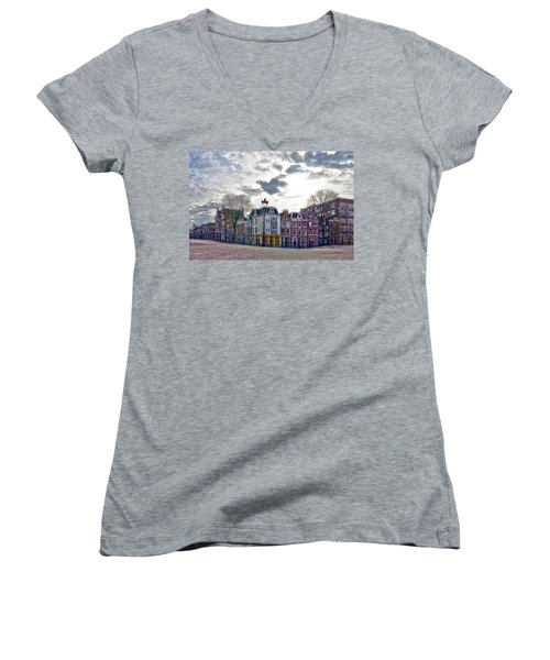 Amsterdam Bridges Women's V-Neck T-Shirt (Junior Cut) by Frans Blok