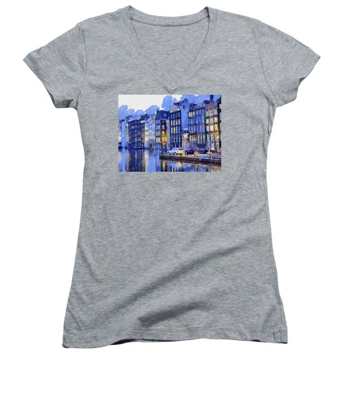Amsterdam With Blue Colors Women's V-Neck T-Shirt (Junior Cut) by Georgi Dimitrov