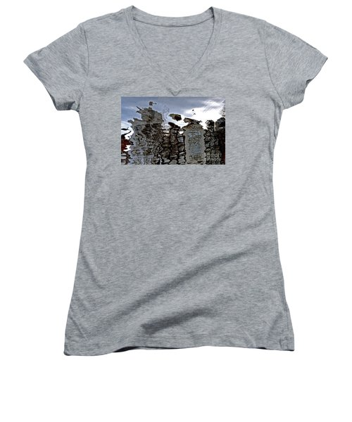 Women's V-Neck T-Shirt (Junior Cut) featuring the photograph Amsterdam Reflections 2 by Andy Prendy