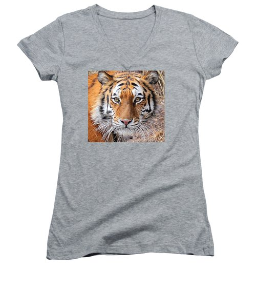 Amur Tiger Portrait Women's V-Neck T-Shirt