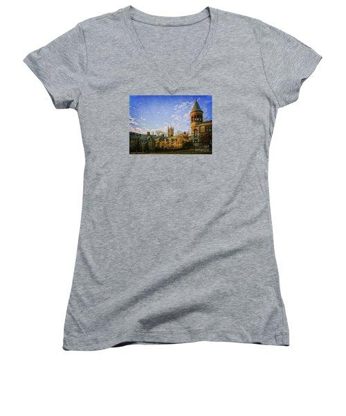 An Afternoon At Princeton Women's V-Neck T-Shirt (Junior Cut) by Debra Fedchin