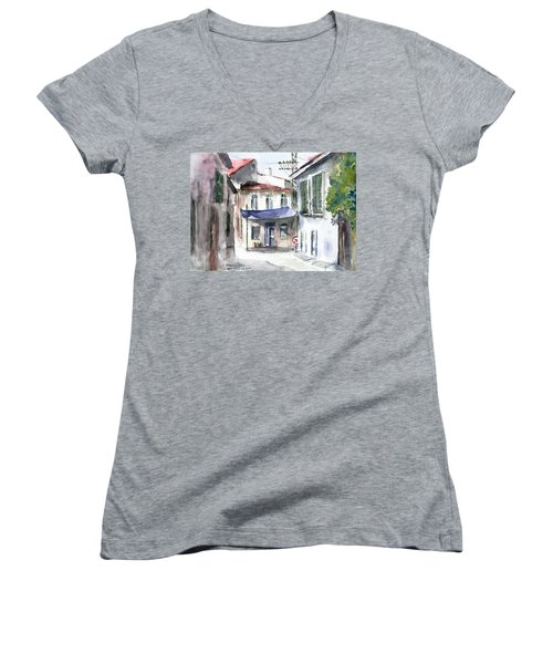 An Authentic Street In Urla - Izmir Women's V-Neck T-Shirt
