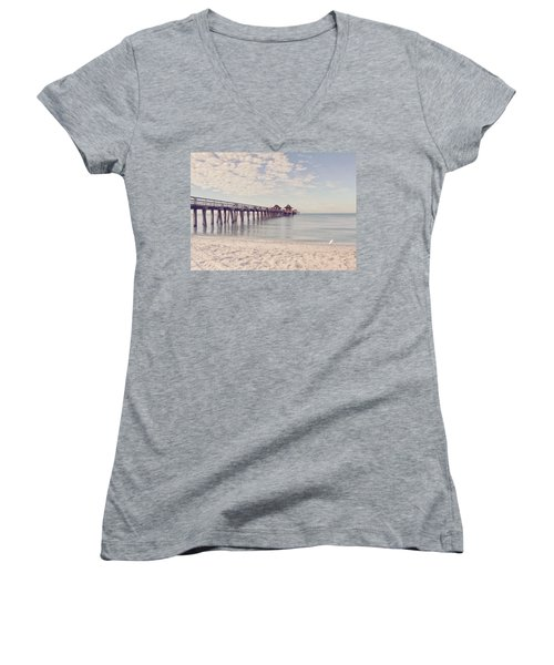 An Early Morning - Naples Pier Women's V-Neck (Athletic Fit)