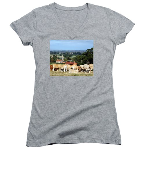 Women's V-Neck T-Shirt (Junior Cut) featuring the photograph An English Summer Landscape by Linsey Williams