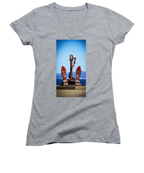 Aaron Berg Women's V-Neck T-Shirt (Junior Cut) featuring the photograph Ship's Anchor  by Aaron Berg