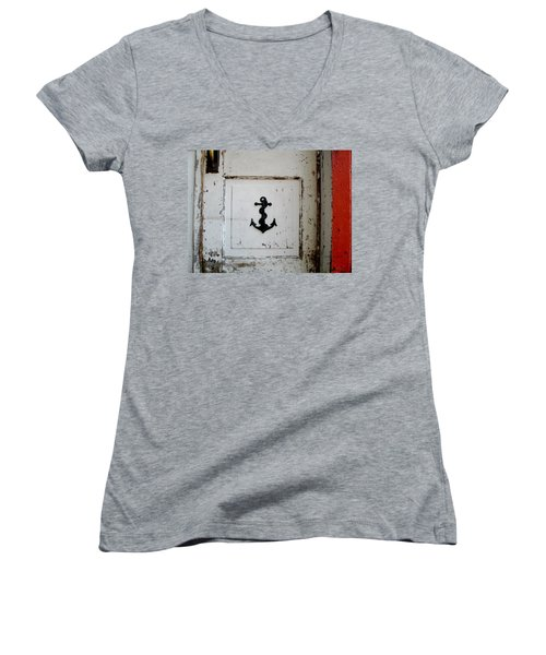 Women's V-Neck T-Shirt (Junior Cut) featuring the photograph Anchor On Old Door by Kathy Barney