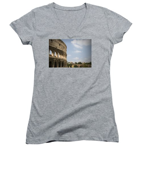 Ancient Colosseum Women's V-Neck T-Shirt (Junior Cut) by Jeremy Voisey