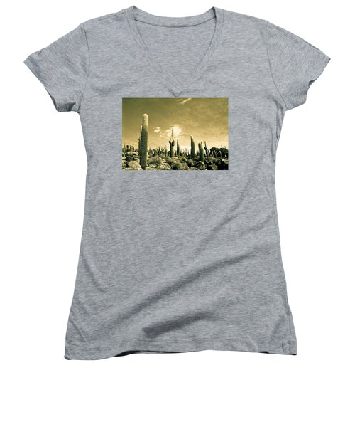 Women's V-Neck T-Shirt (Junior Cut) featuring the photograph Ancient Giants by Lana Enderle