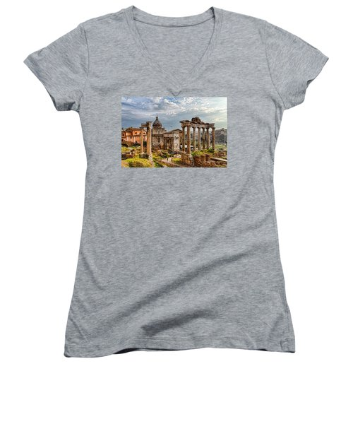 Ancient Roman Forum Ruins - Impressions Of Rome Women's V-Neck (Athletic Fit)