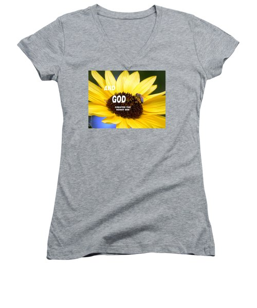 And God Created The Honey Bee Women's V-Neck T-Shirt (Junior Cut) by Belinda Lee