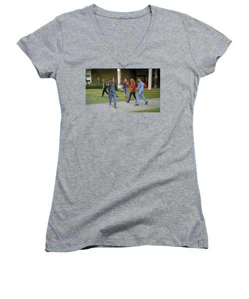 Women's V-Neck T-Shirt (Junior Cut) featuring the painting And I Looked Down At My Shoes . . . by Luis Ludzska