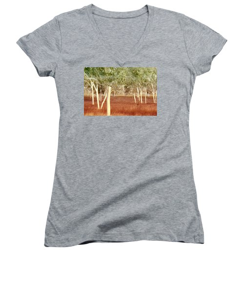 And The Trees Danced Women's V-Neck T-Shirt (Junior Cut) by Holly Kempe