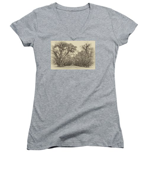 And Time Stood Still Sepia Women's V-Neck T-Shirt