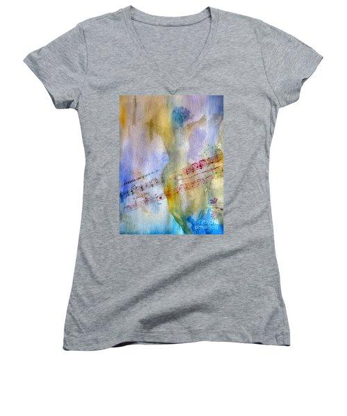 Andante Con Moto Women's V-Neck T-Shirt (Junior Cut) by Sandy McIntire