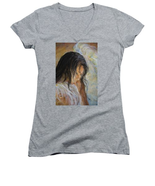 Angel Face Women's V-Neck T-Shirt (Junior Cut) by Nik Helbig
