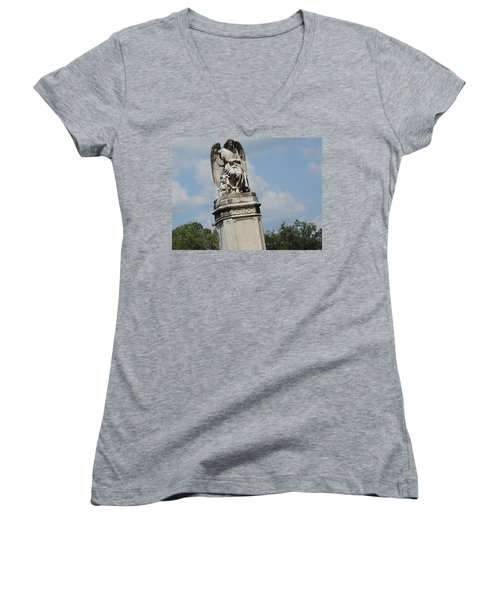 Women's V-Neck T-Shirt (Junior Cut) featuring the photograph Angel Made From Stone by Aaron Martens