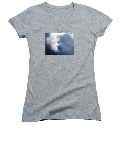 Cloud Angel Kneeling In Prayer Women's V-Neck T-Shirt (Junior Cut) by Belinda Lee