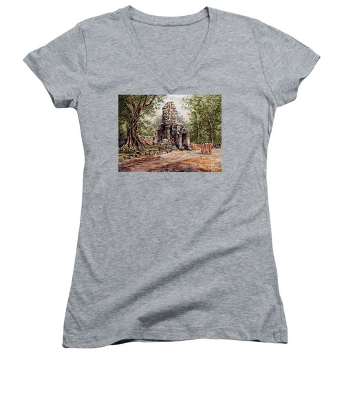 Angkor Temple Gate Women's V-Neck T-Shirt (Junior Cut) by Joey Agbayani