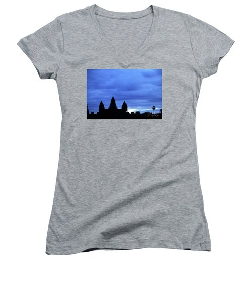 Angkor Wat Sunrise 01 Women's V-Neck (Athletic Fit)
