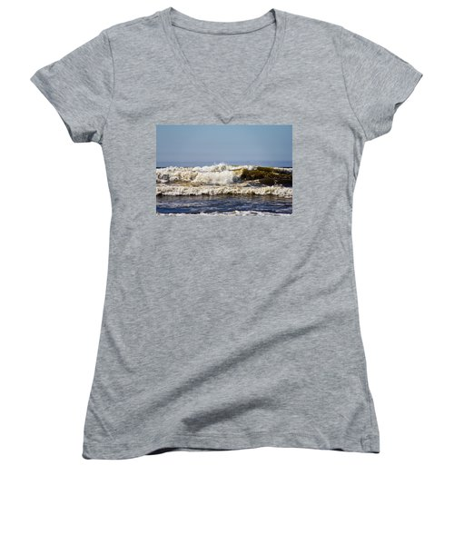 Oregon Women's V-Neck T-Shirt (Junior Cut) featuring the photograph Angry Ocean by Aaron Berg