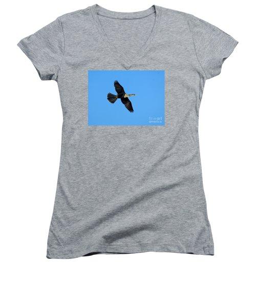 Anhinga Female Flying Women's V-Neck T-Shirt (Junior Cut) by Anthony Mercieca