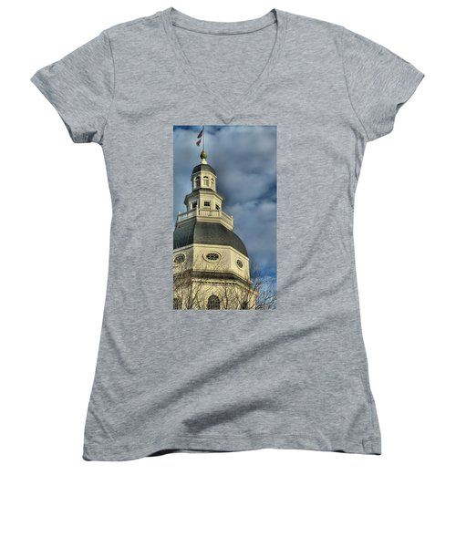 Annapolis Statehouse Women's V-Neck (Athletic Fit)
