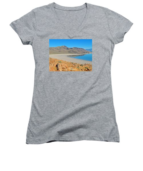 Antelope Island Women's V-Neck T-Shirt (Junior Cut) by Dan Miller