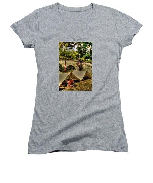Women's V-Neck T-Shirt (Junior Cut) featuring the photograph Antietam - 8th Connecticut Volunteer Infantry-a1 Encampment Near The Foot Of Burnsides Bridge by Michael Mazaika