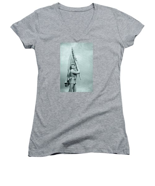 Antietam Civil War Monument Women's V-Neck T-Shirt (Junior Cut) by Phil Cardamone