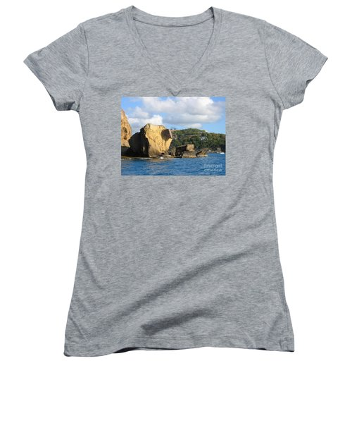 Women's V-Neck T-Shirt (Junior Cut) featuring the photograph Antigua - Aliens by HEVi FineArt