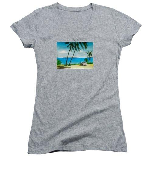 Antigua Women's V-Neck T-Shirt (Junior Cut) by Frank Hunter