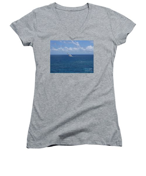 Women's V-Neck T-Shirt (Junior Cut) featuring the photograph Antigua - In Flight by HEVi FineArt