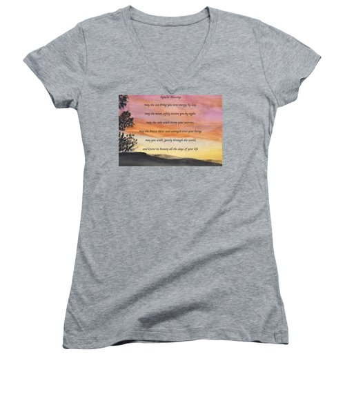 Apache Blessing With Sunset Women's V-Neck T-Shirt