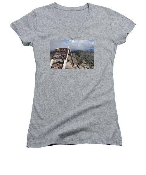 Appalachian Trail Mount Katahdin Women's V-Neck T-Shirt