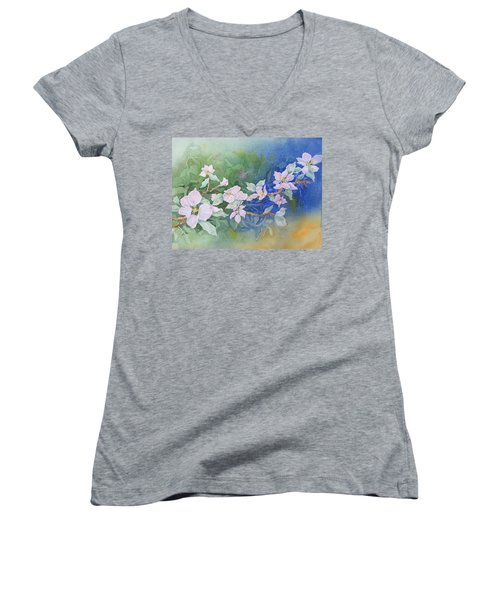 Apple Blossoms 2 Women's V-Neck T-Shirt (Junior Cut) by Christine Lathrop