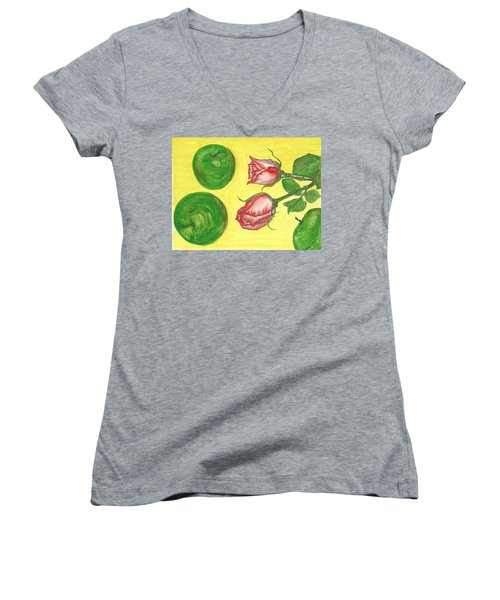 Apples And Roses Women's V-Neck T-Shirt (Junior Cut)