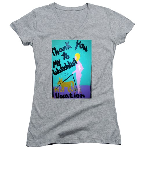 Women's V-Neck T-Shirt (Junior Cut) featuring the painting Appreciation by Erika Chamberlin