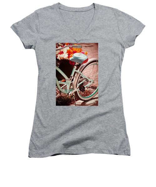 Women's V-Neck T-Shirt (Junior Cut) featuring the digital art Aqua Bicycle by Valerie Reeves