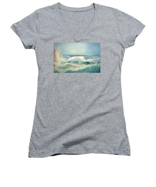 Aqua Sea Scape Women's V-Neck T-Shirt (Junior Cut)