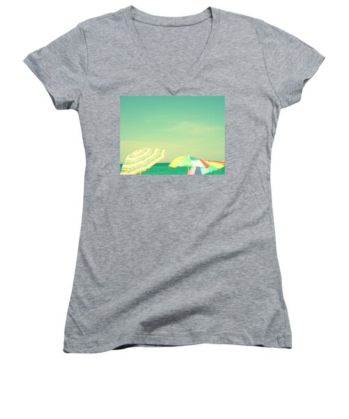 Women's V-Neck T-Shirt (Junior Cut) featuring the digital art Aqua Sky With Umbrellas by Valerie Reeves