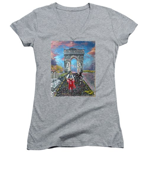 Arc De Triomphe Women's V-Neck T-Shirt (Junior Cut) by Alana Meyers