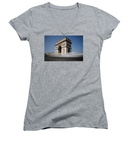 Arc De Triomphe Women's V-Neck T-Shirt (Junior Cut) by Jeremy Voisey