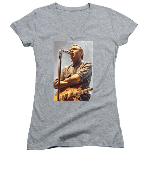 Women's V-Neck T-Shirt (Junior Cut) featuring the painting Arcade Fire Win Butler Artwork by Sheraz A