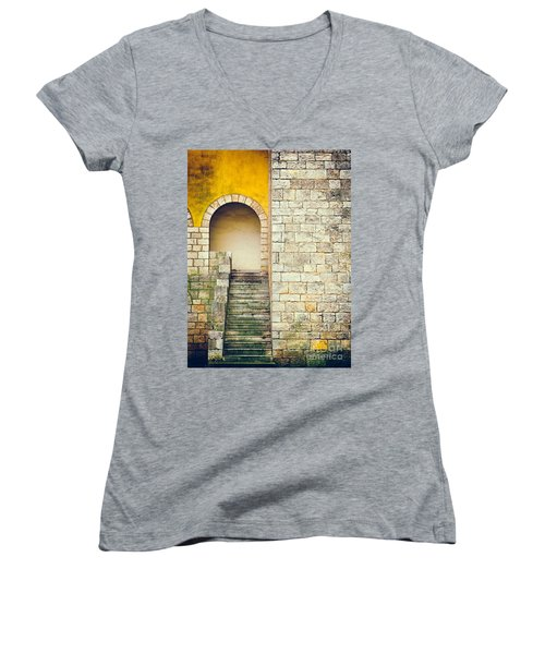 Women's V-Neck T-Shirt (Junior Cut) featuring the photograph Arched Entrance by Silvia Ganora