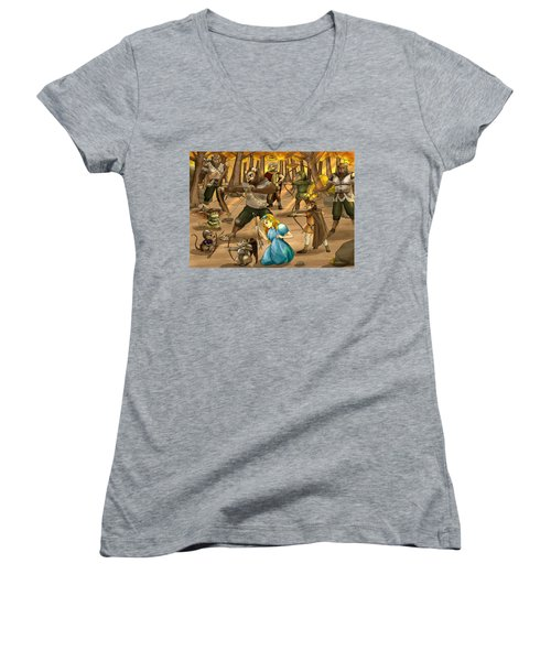 Women's V-Neck T-Shirt (Junior Cut) featuring the painting Archery In Oxboar by Reynold Jay
