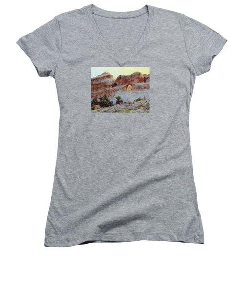 Arches Mulie Women's V-Neck T-Shirt (Junior Cut) by Bruce Morrison