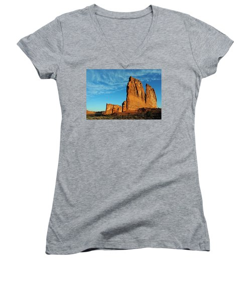 Women's V-Neck T-Shirt (Junior Cut) featuring the photograph Arches National Park 47 by Jeff Brunton