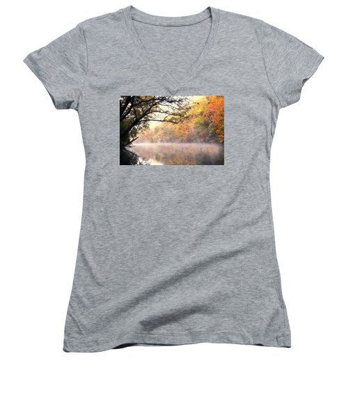 Women's V-Neck T-Shirt (Junior Cut) featuring the photograph Arching Tree On The Current River by Marty Koch