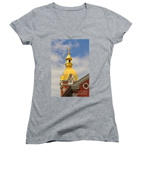 Architecture - Golden Cross Women's V-Neck T-Shirt (Junior Cut) by Liane Wright