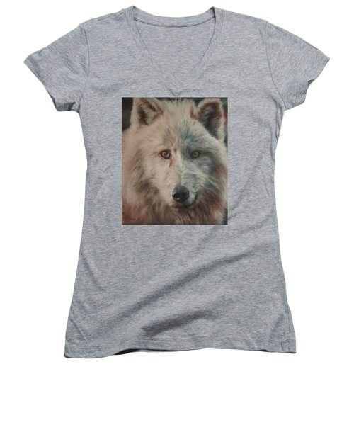 Women's V-Neck T-Shirt (Junior Cut) featuring the painting Arctic Wolf by Cherise Foster